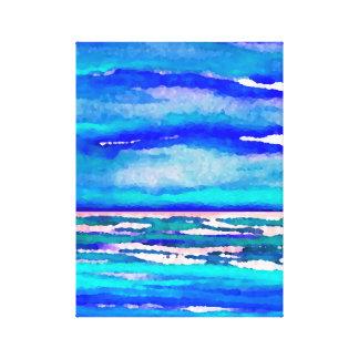 Ondas azules del mar del paisaje marino del arte lienzo envuelto para galerias