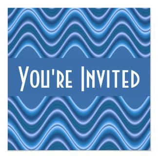 """ondas azules invitación 5.25"""" x 5.25"""""""