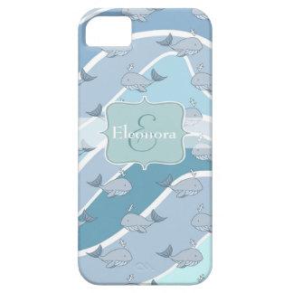 Ondas azules, modelo inconsútil de la ballena iPhone 5 Case-Mate protector