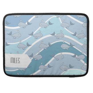 Ondas azules, modelo inconsútil de la ballena funda para macbook pro