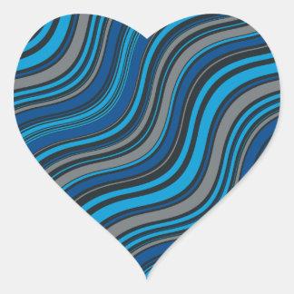 Ondas azules calcomanía corazón