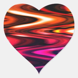 Ondas brillantes del color calcomanías de corazones
