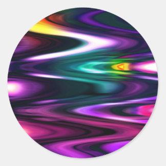 Ondas brillantes del color pegatina redonda
