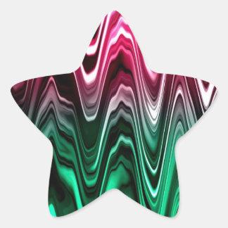 Ondas brillantes del color pegatina forma de estrella