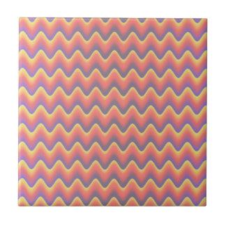 Ondas coloreadas pastel azulejo cuadrado pequeño