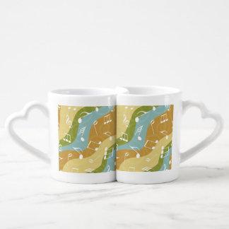 Ondas coloridas de las notas de la música set de tazas de café