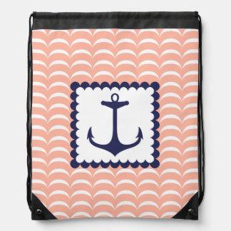 Ondas coralinas del rosa del ancla náutica de los  mochila
