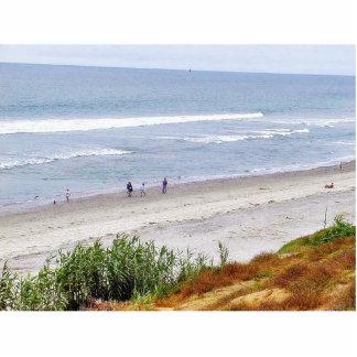 Ondas de arena del agua del océano de la playa fotoescultura vertical