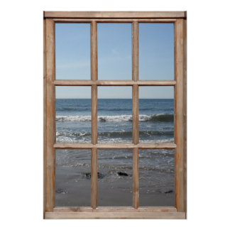 Ondas de balanceo en la opinión de la playa de una póster