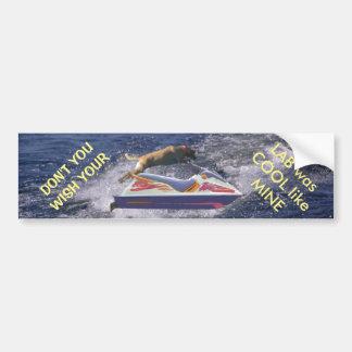 Ondas de barco de salto del labrador retriever pegatina para auto