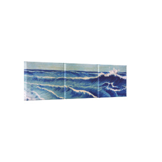 Ondas de Hatō Zu - Uehara Konen Japonés Woodblock Impresión De Lienzo