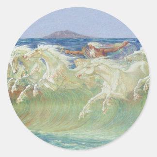 ONDAS DE HORSES RIDE THE DE REY NEPTUNO PEGATINAS REDONDAS