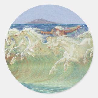 ONDAS DE HORSES RIDE THE DE REY NEPTUNO PEGATINA REDONDA