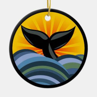Ondas de la cola de la ballena y ornamento del res adornos de navidad