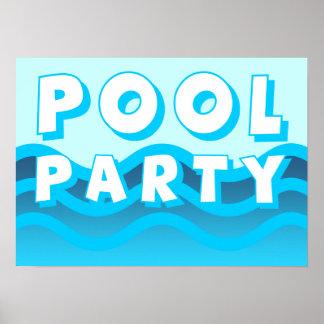 ondas de la fiesta en la piscina póster