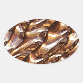 Ondas de la piedra de Goldmind Calcomanías Ovales Personalizadas