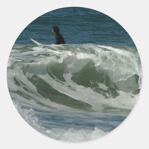 Ondas de la playa del océano en San Diego Pegatina Redonda
