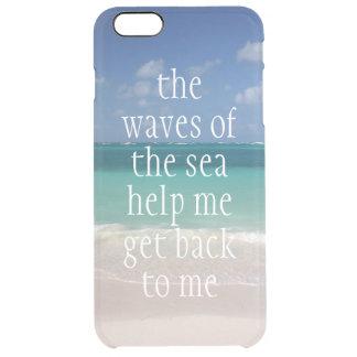 Ondas de motivación inspiradas de la cita del mar funda clear para iPhone 6 plus