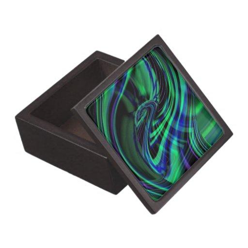 Ondas de neón abstractas del azul de la aguamarina caja de recuerdo de calidad