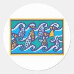 Ondas de pescados pegatinas
