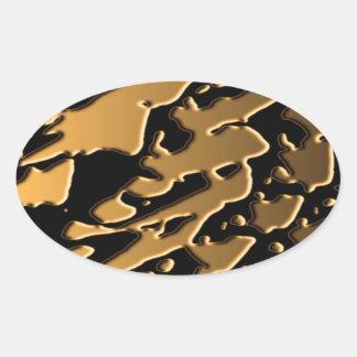 Ondas de Plast del oro Pegatinas De Óval Personalizadas