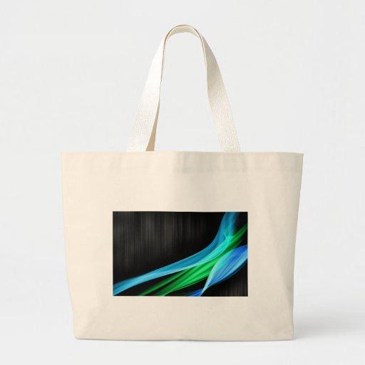 Ondas de verde claro contra una base del negro de  bolsa tela grande