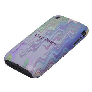 Ondas de verde y de la púrpura iPhone 3 tough carcasa