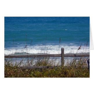 Ondas del azul de océano tarjeta en blanco de la f