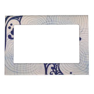 Ondas del azul del art déco del vintage marcos magneticos para fotos