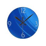 Ondas del azul real relojes de pared
