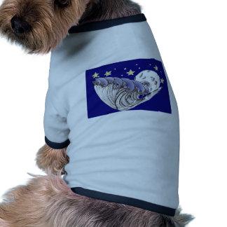 Ondas del azul y Luna Llena Camiseta Con Mangas Para Perro