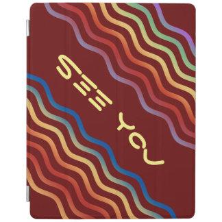 Ondas del bonito coloreadas + su backgr., texto y cubierta de iPad