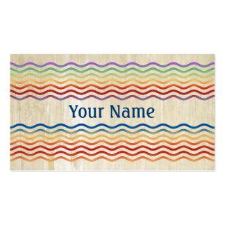 Ondas del bonito coloreadas + su backgr., texto y tarjetas de visita