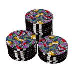 Ondas del extracto fichas de póquer