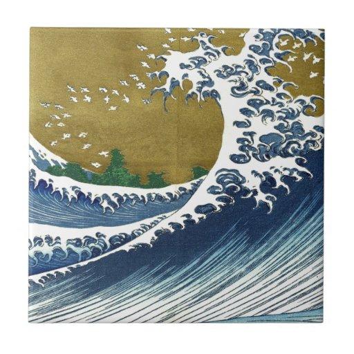 Ondas del japonés del vintage azulejo cuadrado pequeño