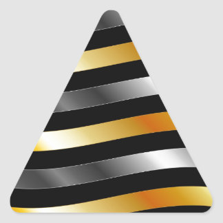 Ondas del metal del oro del alto grado pegatina triangular
