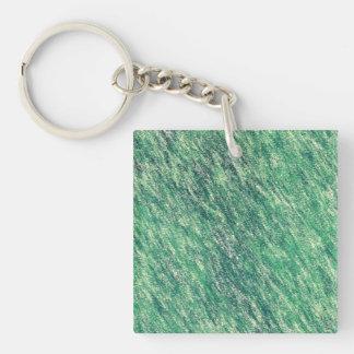 Ondas del verde llavero cuadrado acrílico a una cara