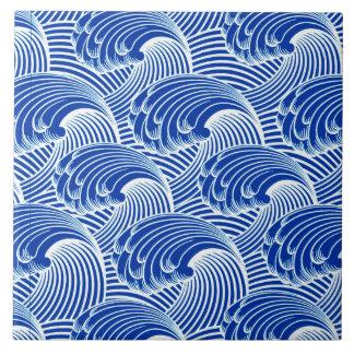 Ondas del vintage, azul de cobalto y blanco azulejo cuadrado grande