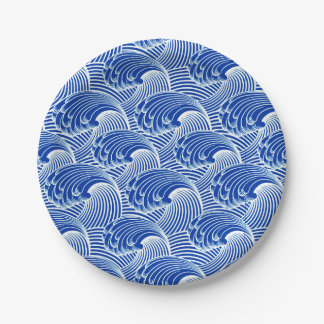 Ondas del vintage, azul de cobalto y blanco platos de papel