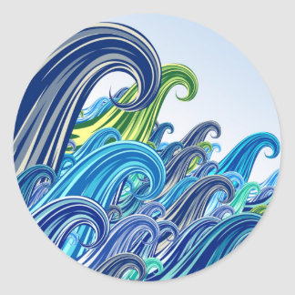 Ondas do Mar Classic Round Sticker