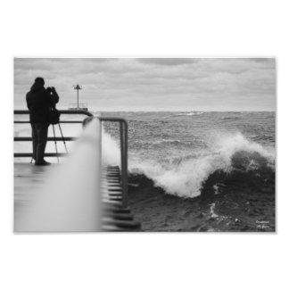 Ondas en el lago Michigan de la impresión de Sandy Arte Con Fotos