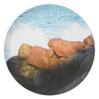 Ondas en las rocas; Ningún texto Plato Para Fiesta