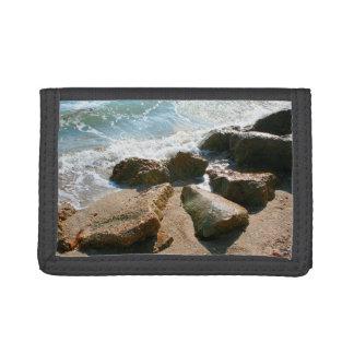 ondas en rocas en imagen de la orilla de la playa