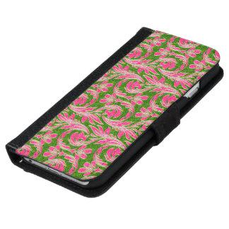 Ondas metálicas, cartera Rosada-Geen-iPhone de 6 Funda Cartera Para iPhone 6