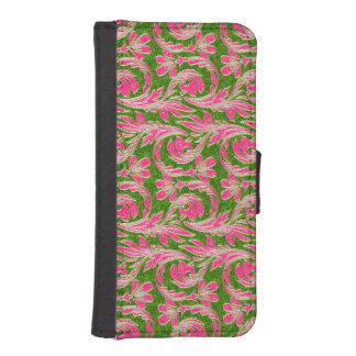 Ondas metálicas, cartera Rosada-Geen-iPhone del Fundas Cartera Para Teléfono