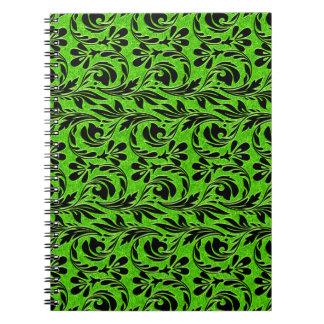 Ondas metálicas, cuaderno espiral Neón-Negro