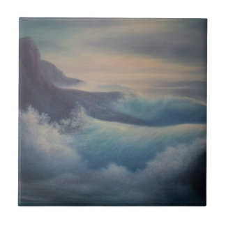 Ondas, pintura al óleo azulejo cuadrado pequeño