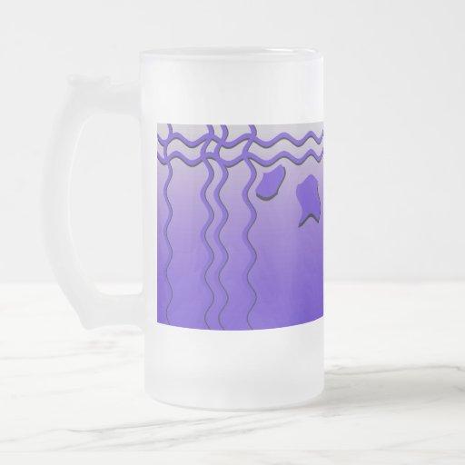 Ondas profundas elegantes del azul, diseño taza cristal mate