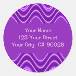 ondas púrpuras pegatina redonda