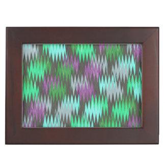 Ondas púrpuras y del gris verdes caja de recuerdos